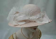 Romantic Ladies Pink Straw 1920s Hat by LadySalisbury on Etsy, $180.00