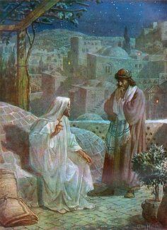Nicodemus (right) talking to Jesus, by William Brassey Hole, (1846–1917)