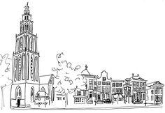 Groningen sketch Indian Ink