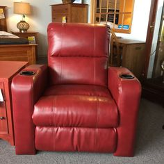 Right in time for football season, a power recliner with BEVERAGE COOLER right in the cupholder!!!!  New to the floor for only $796.95!