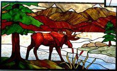 Stained glass moose window by www.phoenixstudio.com