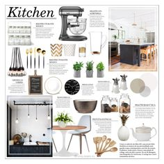 """""""Kitchen"""" by honey-beans-xo ❤ liked on Polyvore featuring interior, interiors, interior design, home, home decor, interior decorating, Nuans Design, Dot & Bo, Zuo and Lux-Art Silks"""