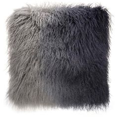 Grey Ombre Tibetan Fur Cushion (72 CAD) ❤ liked on Polyvore featuring home, home decor, throw pillows, grey accent pillows, gray throw pillows, grey throw pillows, gray home decor and gray accent pillows
