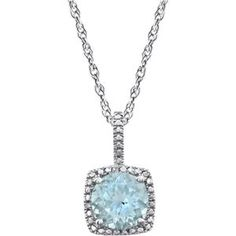 This STERLING SILVER Necklace features a STERLING Pendant featuring a GENUINE AQUAMARINE = 1.25 CARATS with DIAMOND accents in a halo style setting. This Pendant is suspended from a STERLING Silver Ch