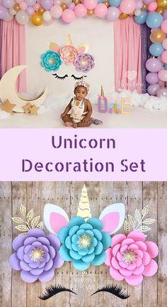 Unicorn Flower DIY, Unicorn Birthday Decoration. Unicorn Party Decor. #Unicorn #Party #Decor #Birthday #Affiliate