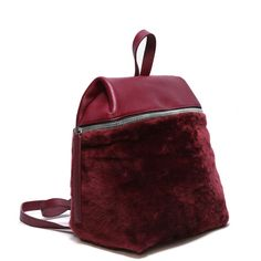 KARA Shearling Backpack ($192) ❤ liked on Polyvore featuring bags, backpacks, shearling backpack, zip pouch, zipper bag, zipper pouch and pouch bag