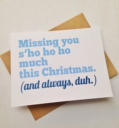 Long-Distance Christmas card | Let a friend or family member know that you're missing them this holiday! BEpaperie.Etsy.com