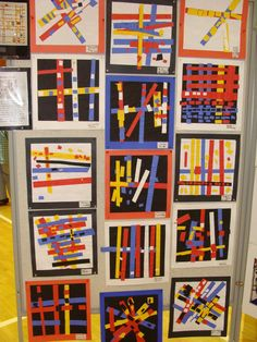 Gluing: Red,Yellow,Blue paper Black or white background Mondrian style paper str. - Gluing: Red,Yellow,Blue paper Black or white background Mondrian style paper strip collage - Piet Mondrian, Mondrian Kunst, Kindergarten Art Lessons, Art Lessons Elementary, Elementary Teaching, Classe D'art, Color Collage, Collage Walls, Shape Collage
