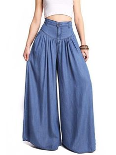Trendy Women Super Wide Leg Denim Pants Jeans Baggy Flowy High Waist Flared USA The post Trendy Women Super Wide Leg Denim Pants Jeans Baggy Flowy High Waist Flared USA appeared first on Jean. Wide Leg Denim, Wide Leg Pants, Wide Legs, Blue Denim, Ankle Pants, Loose Pants, Loose Fit, Pants For Women, Clothes For Women