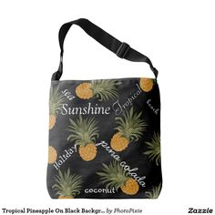 Tropical Pineapple On Black Background Typography Over Shoulder Tote Bag