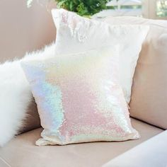 Mermaid Pillow Reversible Sequin Pillow that Changes color by Ankit - Iridescent Pink Dream Bedroom, Girls Bedroom, Bedroom Decor, Bedrooms, Neon Bedroom, Bedroom Ideas, Pastel Bedroom, Unicorn Rooms, Unicorn Bedroom