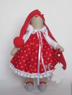 Купить Зайка Стефания - ярко-красный, тильда, зайцы тильда, зайка девочка, зайка тильда