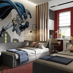 Ideas for boys bedrooms Study Room Design, Kids Room Design, Diy Room Decor, Bedroom Decor, Home Decor, Bedroom Furniture, Boy And Girl Shared Room, Dream Home Design, Boy Room