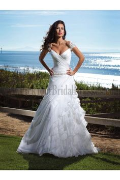 Nice asymmetrical wrap from bust down to natural waist; interesting with the bead-detailing on the dropped waist; I would be constantly annoyed by the off-the-shoulder straps though! =/  -Formal A Line Wedding Gowns Court Train Chiffon Satin Cap Sleeves Beading Tiered Chic And Modern Online Wedding Dresses