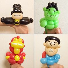 Heroes Bracelet #batman #incrediblehulk #ironman #superman #balloonart #バルーンアート