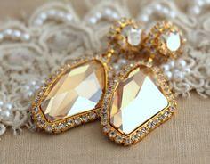 Chandelier Topaz Champagne Gold  Bridal  Swarovski Rhinestone drop earrings, wedding jewelry, drop earrings- gold plated geometric earrings