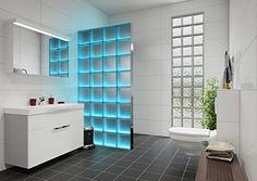 Shop LMW Light My Wall - illuminated glass blocks total size 78 x 5 cm (clear wave) Blocks with Built-in Light. Bathroom Interior, Modern Bathroom, Small Bathroom, Bathroom Showers, Bad Inspiration, Bathroom Inspiration, Glass Blocks Wall, Block Wall, Glass Block Shower