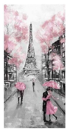 TOMPOP Tapestry Oil Painting Paris European City Landscape France Eiffel Tower Black White Pink Modern Couple Under Home Decor Wall Hanging Living Room Bedroom Dorm inches Paris Painting, Diy Wall Painting, Pink Painting, Painting Canvas, Paint Decor, Paris Kunst, Paris Art, Art Parisien, Eiffel Tower Painting