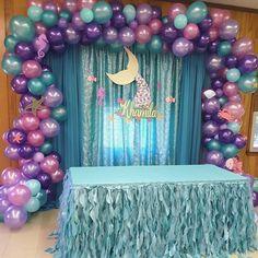 first birthday girl Little Mermaid Baby, Little Mermaid Birthday, Little Mermaid Parties, Mermaid Party Decorations, Birthday Party Decorations, 2nd Birthday Parties, Girl Birthday, Unicorn Birthday, Mermaid Birthday Cakes