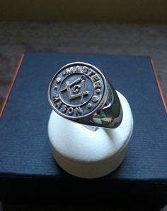 Mens Master Masonic Ring Handmade Freemasonry SILVER by Varouxi