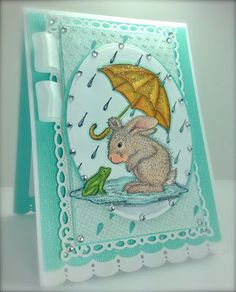April Showers, Spring Card, House Mouse, Happy Hoppers, Bunny, Frog, Spellbinders, America