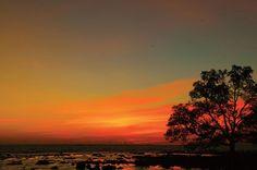 Sunset near Anak Krakatau (the Child of Krakatoa).