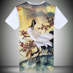 2013 male summer short-sleeve T-shirt slim 100% male cotton print t-shirt chinese style plus size men's clothing
