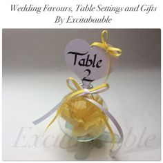 Daffodil Personalised glass Wedding Favours, Table Settings and Gifts www.excitabauble.co.uk