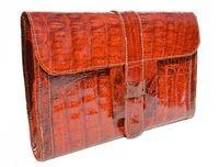 "NEW 2012 TOMATO Red Crocodile Skin Envelope Clutch Bag - ""H"""