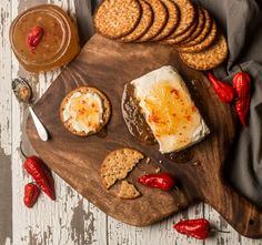 Pinapple and Ghost Pepper Jam with Cream Cheese on Everything Crackers | by James Stiles Photography