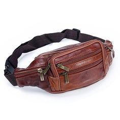 d16a36d60e06 Qianxilu Men Retro Genuine Leather Waist Packs Cowhide Travel Fanny Pack  with Phone Coin Purse Shoulder Bags Messenger Bag