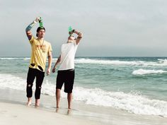 just a couple of dewds on the beach. you don't soda you've got till it's gone. it fizz what it is.