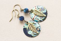 Blue Boho Earrings Antique Brass Feather by MusingTreeStudios, $18.99 #etsy #handmade #jewelry