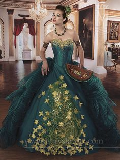 Quinceanera - Princess   Description: Strapless, organza ball gown with sweetheart neckline, basque waist, corset bodice, beads, sequins, embroidery, lace-up back & bolero.  Teal/Gold.