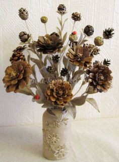 This simple glass jar houses a bouquet of hand painted pine cones in shades of blue. Pine Cone Art, Pine Cone Crafts, Pine Cones, Flower Crafts, Diy Flowers, Paper Flowers, Autumn Crafts, Nature Crafts, Pine Cone Decorations