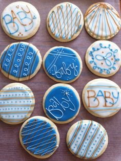 Boy baby shower cookie favors