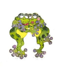 Items similar to Frogs  8.5x11 art print on Etsy