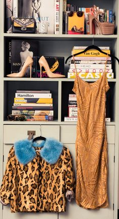 Inside Fashion Stylist Sophie Lopez's Closet: Small Structured Black Clutch by Fendi, Sunglasses by Cutler & Gross and Krewe du Optic, High Heels by Jimmy Choo and Gucci, Long Tank Top Brown Dress by Maiyet, Leopard Print Coat with Blue Fur Collar by Shrimps | coveteur.com