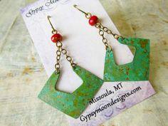 rustic Bohemian earrings copper Patina by Gypsymoondesigns on Etsy, $25.00