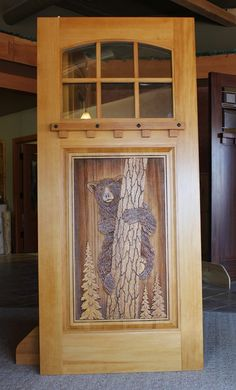 Custom sand carved wood doors are ideally suited for residential homes, lake homes, or cabins. Custom Wood Doors, Wood Front Doors, Rustic Doors, Wooden Doors, Entry Doors, Castle Doors, Cabin Doors, Carved Wood Signs, Wooden Door Design