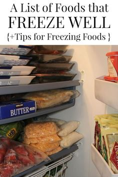 What can you freeze? Here is a List of Foods that Freeze Well - Save money by buying these items in bulk when they are on sale and freeze them for later. Stocking up on food at its lowest prices is a great way to cut your grocery budget. Includes tips for freezing food and thawing frozen food.