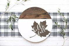 Painted Wood Signs, Wooden Signs, Fall Projects, Diy Projects, Door Crafts, Wood Wreath, Fall Door Hangers, Fall Signs, Porch Signs
