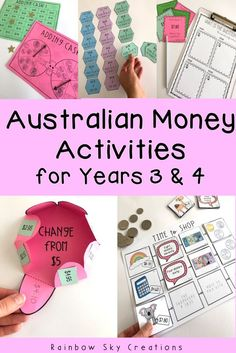 Australian Money Pack - Hands on Australian money activities - Year 3 & 4 Check out these hands on, engaging Australian money learning activities for Years 3 and Pack comes with ACARA aligned pretest, differentiated teaching resources, assessments and t Money Activities, Money Games, Teaching Activities, Hands On Activities, Learning Resources, Teaching Math, Teaching Ideas, Teacher Resources, Year 3 Maths