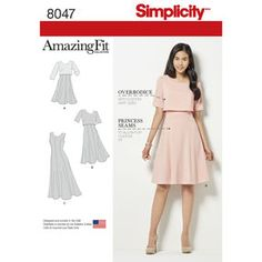 Simplicity Pattern 8047 Amazing Fit Misses Dress in Slim, Average and Curvy Fit