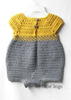 Crochet Baby Romper Outfit Pattern. 0-3 3-6 and 6-12 by TMKCrochet