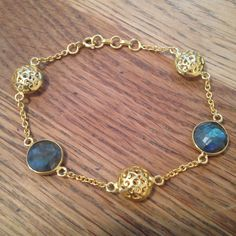 Yellow gold plated silver & labradorite