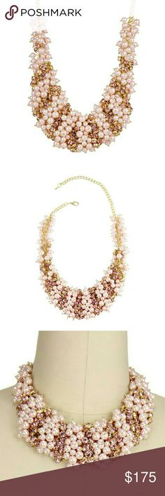 """Rose Crystal Faux Pearl Statement Necklace NWT! Rose Crystal Faux Pearl Statement Necklace is brand new!   - Gold-tone  - Lobster clasp - Approx. 20"""" length - Approx. 2"""" width - Metal alloy, imitation pearls, crystal  No Trades   Use OFFER button to negotiate Please Ask ❓'s BEFORE you Buy Thank you for stopping by! Happy Poshing! mmadonna40 Jewelry Necklaces"""