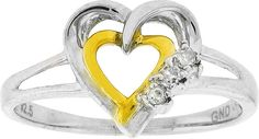 Two-tone Sterling Silver Womens Round Diamond Double Heart Ring .03 Cttw Size 5 109275