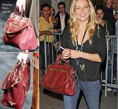 Sienna Miller Carries her Favorite Prada Saffiano and Tessuto Tote on http://www.geekpurses.hk