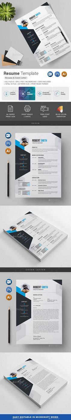 Resume / CV Template PSD, Vector EPS, AI, DOCX & DOC #design #msword